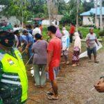 Warga Ranai Kota bersama Babinsa, Babinkamtibmas Ikut Goro Bersama Persiapan Pembangunan Mushola